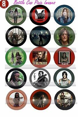 The Walking Dead DARYL MICHONNE RICK  CARL Zombies 45 Precut Bottle Cap Images
