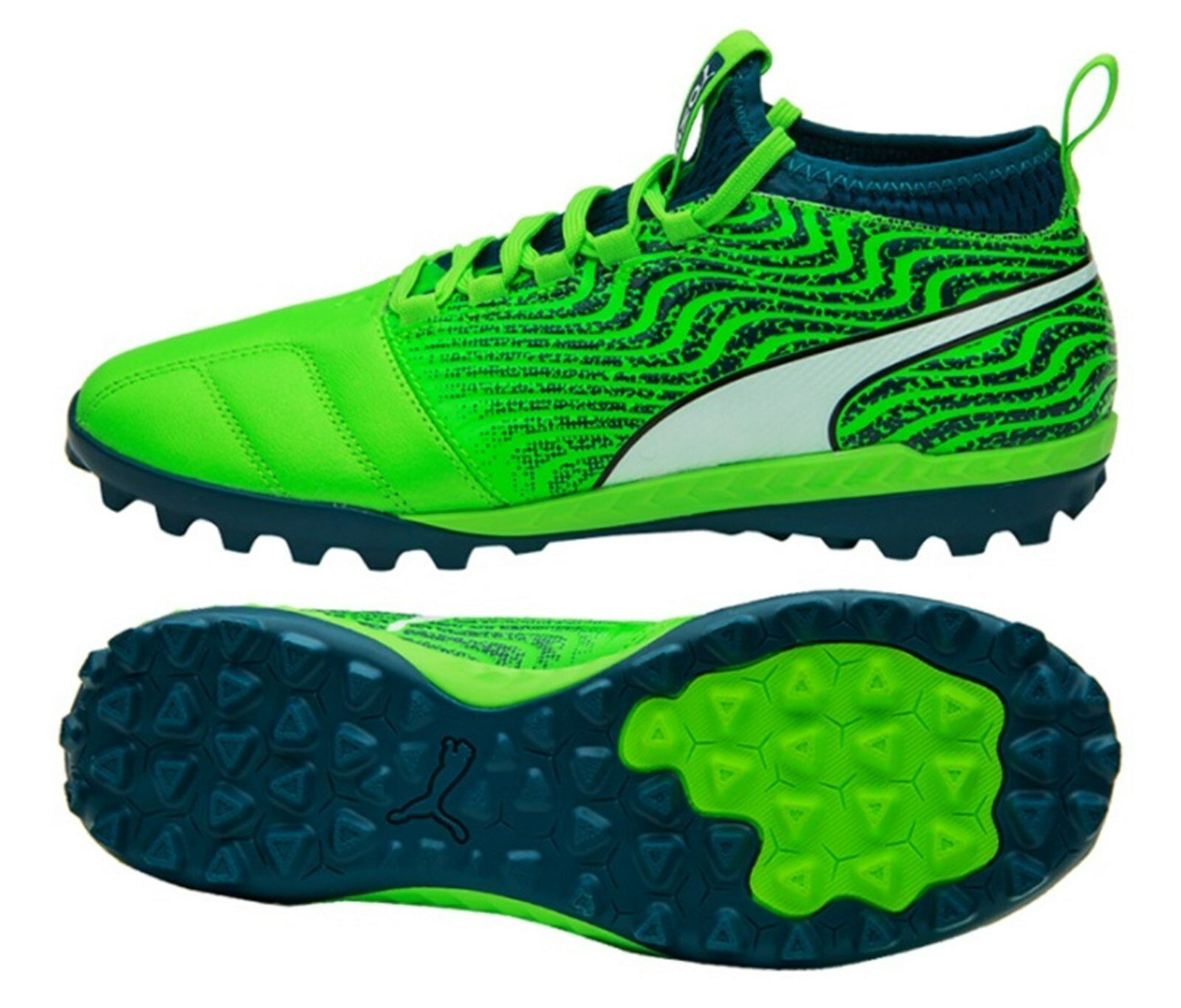 PUMA Men ONE 18.3 TT Cleats Soccer Grün Navy Futsal Schuhes Stiefel Spike 104542-03