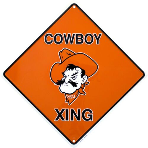 """Oklahoma State University Cowboys 12/"""" Xing Crossing Metal Sign Embossed Decor"""