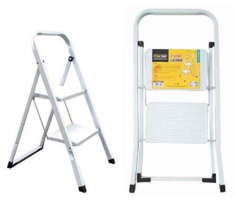 2 Step Ladder Lightweight Fold able Kitchen Stool Non Slip Treads Safety Folding