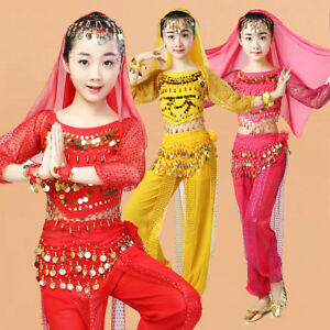 Children Indian Dance Costume Set Girls Belly Dancing Competition