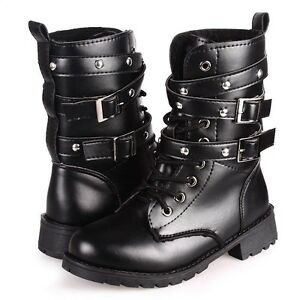 AU-Women-039-s-Lace-Up-Buckle-Ankle-Martin-Biker-Leather-Boots-Combat-Military-Shoes