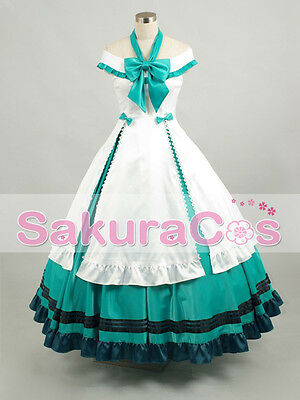 Vocaloid Hatsune Miku Alice Cosplay Costume Evening Party White Green Dress