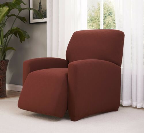 CHECKERBOARD STRETCH RECLINER COVER--BROWN--COMES IN ALL SIZES AND 5 COLORS
