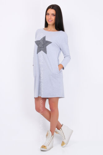 Shift Dress With Pockets Boat Neck Long Sleeve Tunic Long Top Size 8-12 FT1636