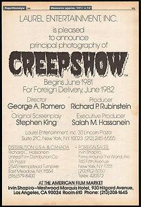 CREEPSHOW-Original-1981-Trade-AD-poster-Principal-Photography-STEPHEN-KING