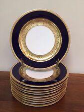 T&V Tressemanes & Vogt Limoges COBALT GOLD ENCRUSTED Luncheon Plates ~ Set of 10
