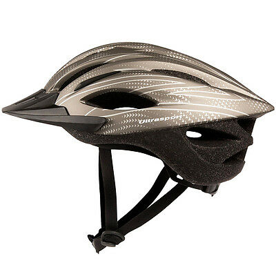 Casco Bici Elmetto Protettivo Regolabile Con Visiera Ciclisti Ultrasport Silver