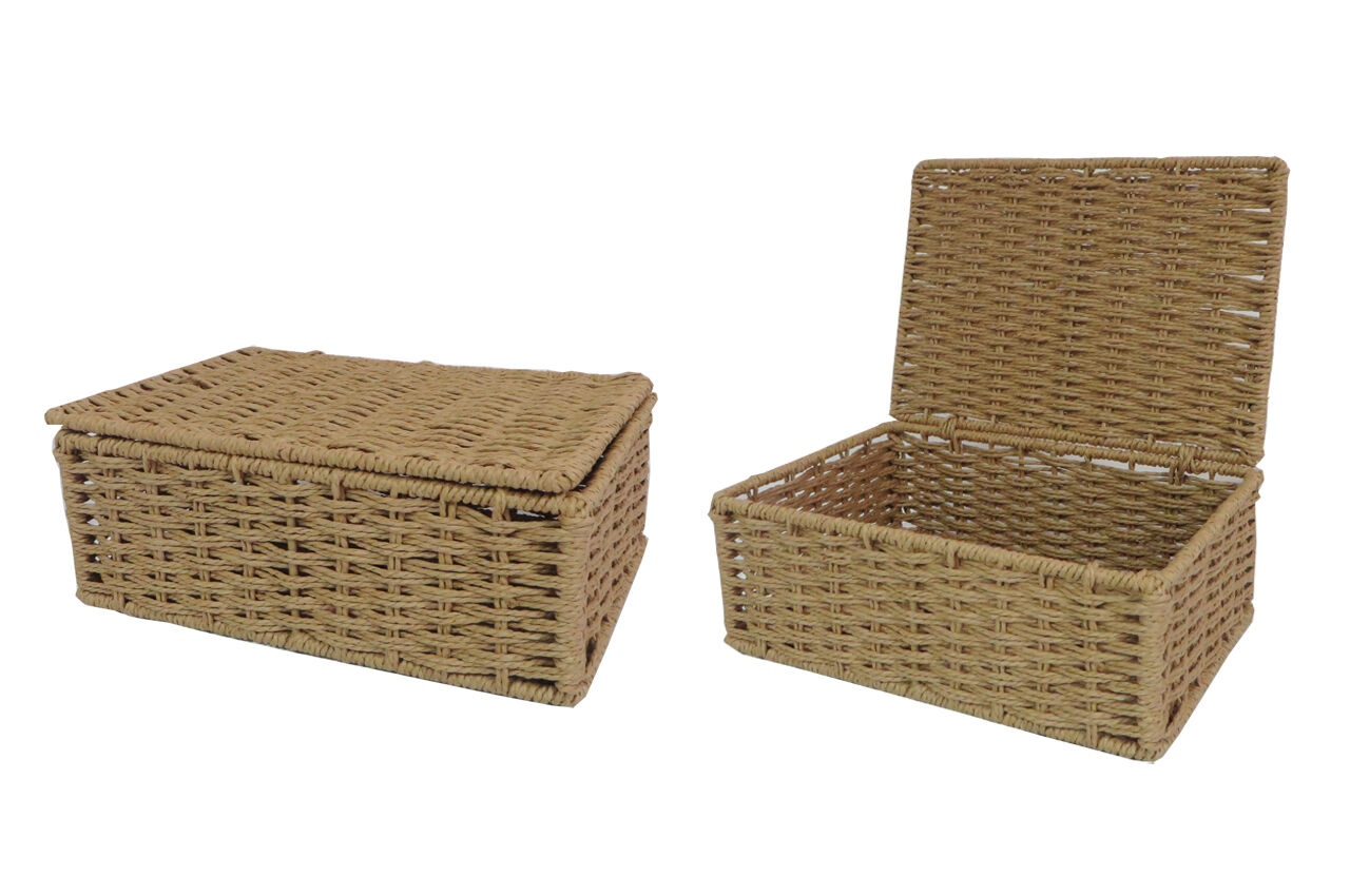 Natural Small Paper Rope Storage Basket Box Hamper With