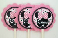 Pink Minnie Mouse Birthday Cupcake Toppers...set Of 12... Personalized Free