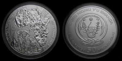 2017 MS70 Rwanda 1oz Silver 50 Francs Hippopotamus NGC UNC African Ounce