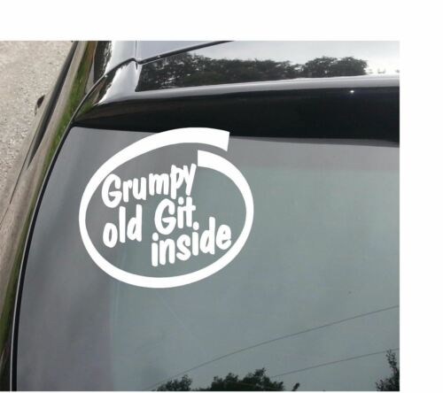 LARGE GRUMPY OLD GIT INSIDE Funny Novelty Car//Van//Window//Bumper Sticker//Decal