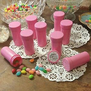 7-Pill-Bottles-PINK-opaque-JARS-PINK-CAPS-LID-Doc-Birthday-Party-3814-DecoJars