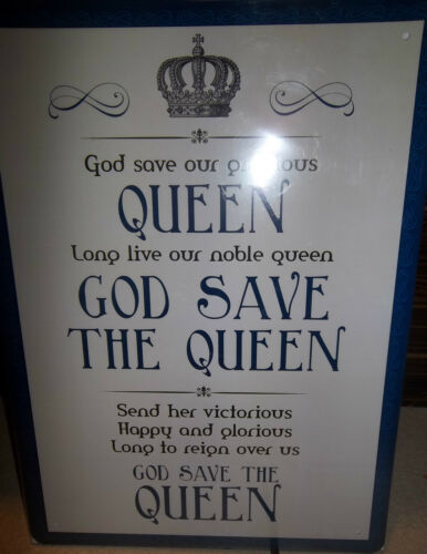 """GOD SAVE THE QUEEN// NATIONAL ANTHEM RETRO 12/""""X 8/"""" METAL SIGN FREE UK POSTAGE."""