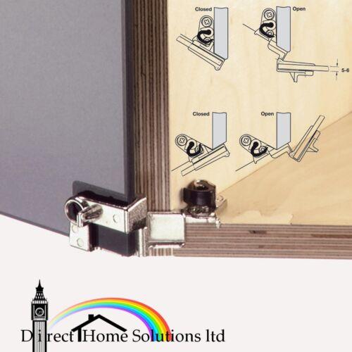 catch nickelé Paire de Hafele 210 ° verre Charnières de porte pour superposition Portes