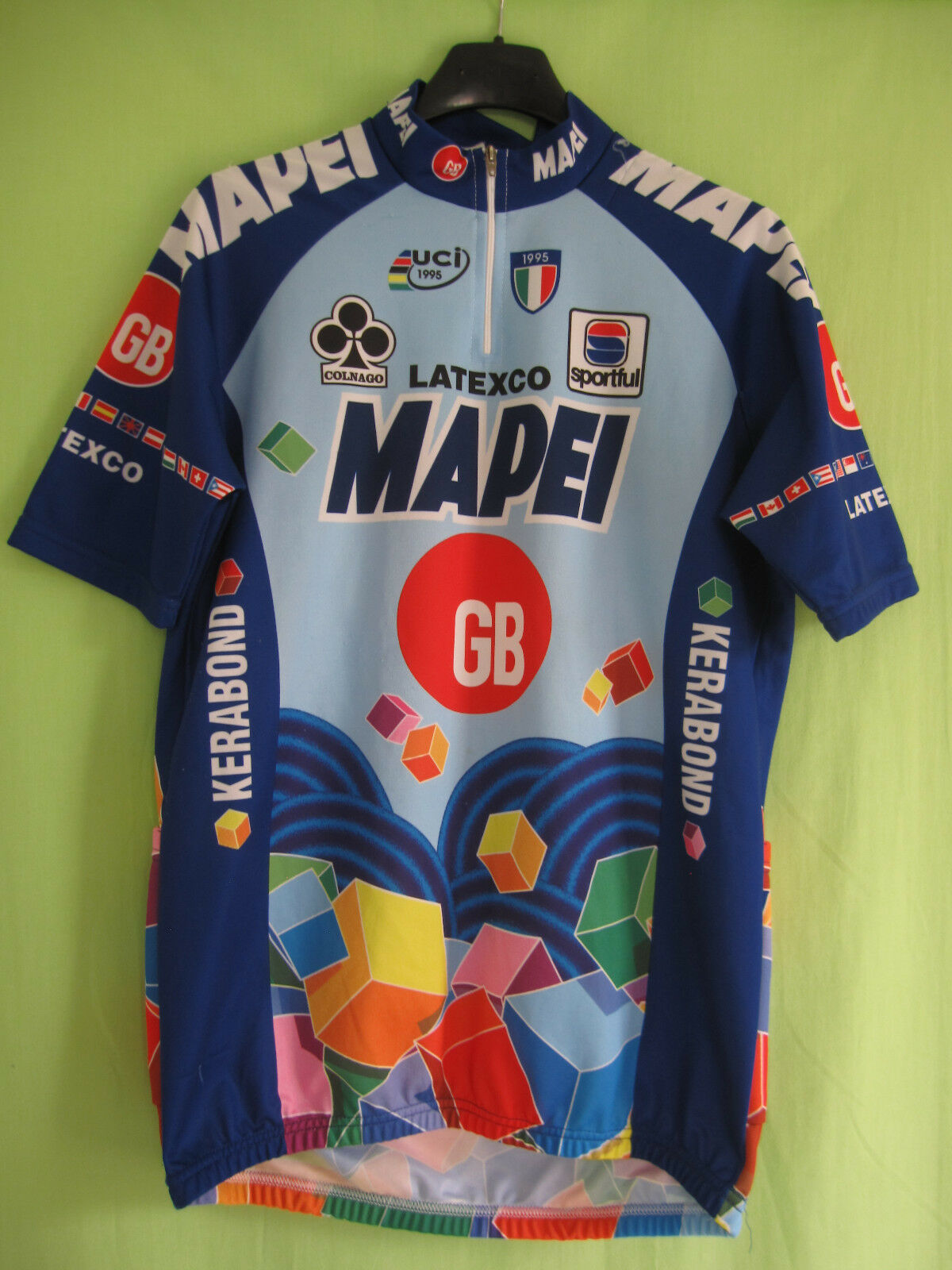 57774e8bc Maillot cycliste Mapei GB Tour 1995 uci Latexco Vintage Cycling jersey - L