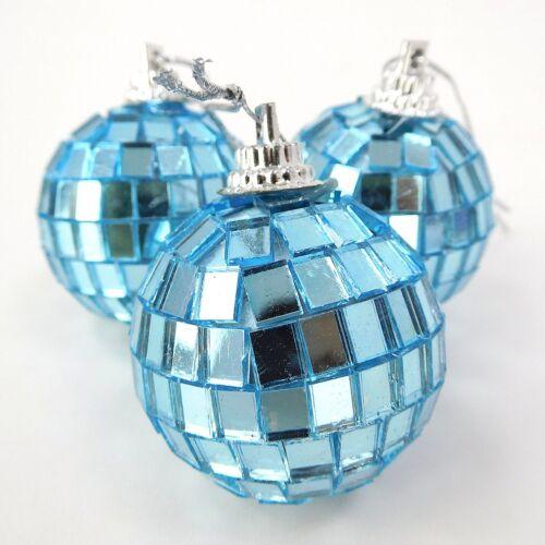 Pack de 24 40mm bleu glace miroir boules-disco boules décorations pour arbres BA16 x2