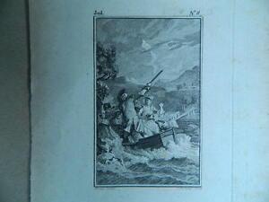 XVIII Antik Gravur Geschliffenes Süßwasser Jean-Jacques Naufrag Moreau