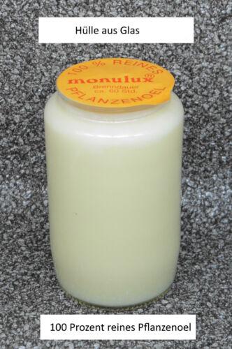 Glas Grabkerze Grablicht Monulux 60 Std weiss 100 /% Pflanzenoel #M6W