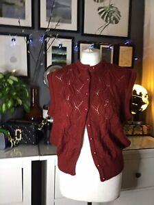 VINTAGE BHS Lavorato a Maglia Vest 80s Red Berry Designer Inspired 10 12 14 16 18