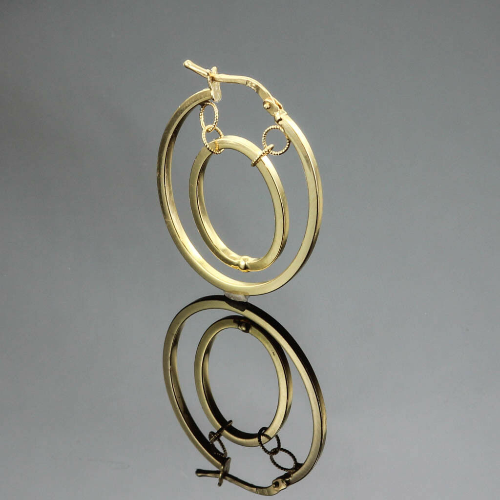 SINGLE   HALF PAIR 1.5 mm OVAL DOUBLE HOOP EARRINGS 14K YELLOW gold 30 MM LONG