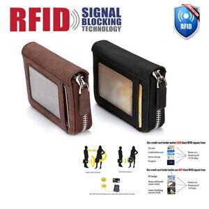 Antimagnetic-Men-Wallet-Credit-Card-Holder-Leather-RFID-Blocking-Zipper-Pocket