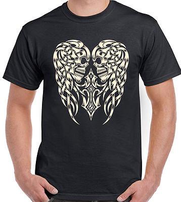 Angel Wings Skull Womens T-Shirt Motorbike Motorcycle Biker Tattoo Ink