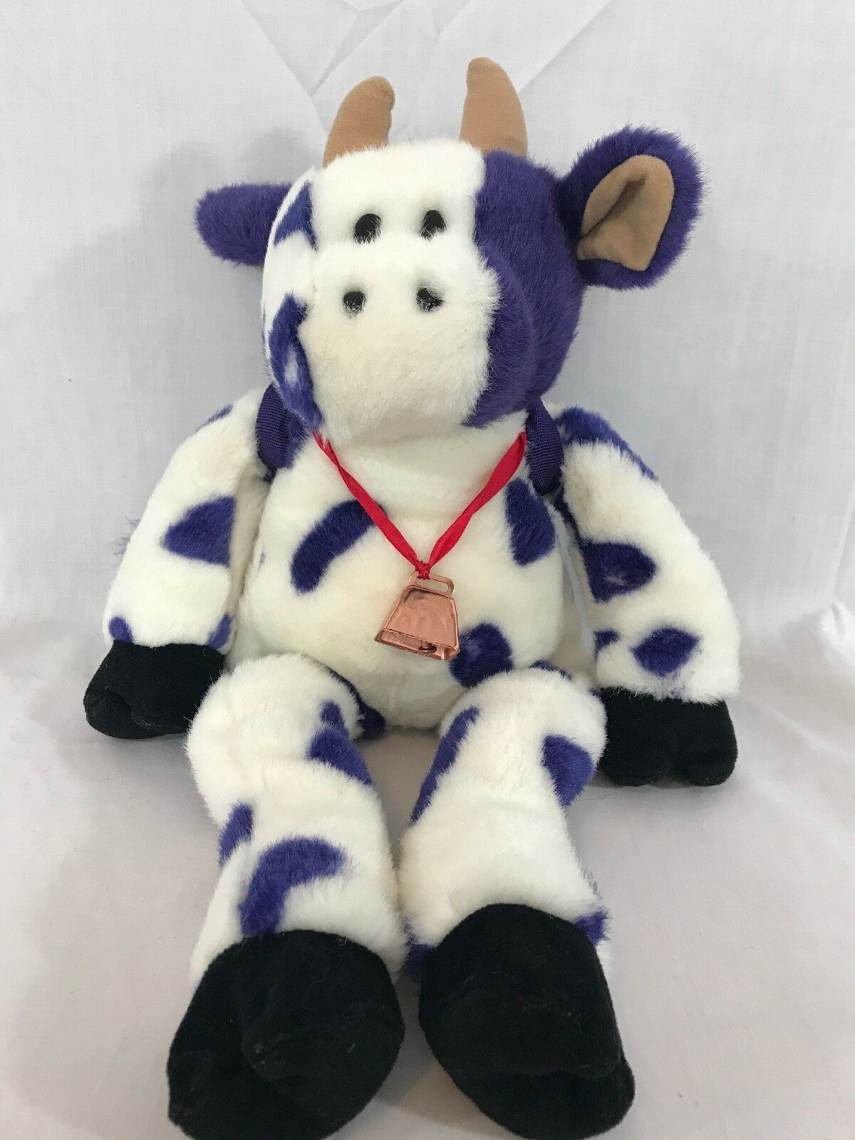 "NEW 1997 Zany Brainy 21"" Tall viola bianca Cow Copper Bell Zamoo Zany Moo Plush"