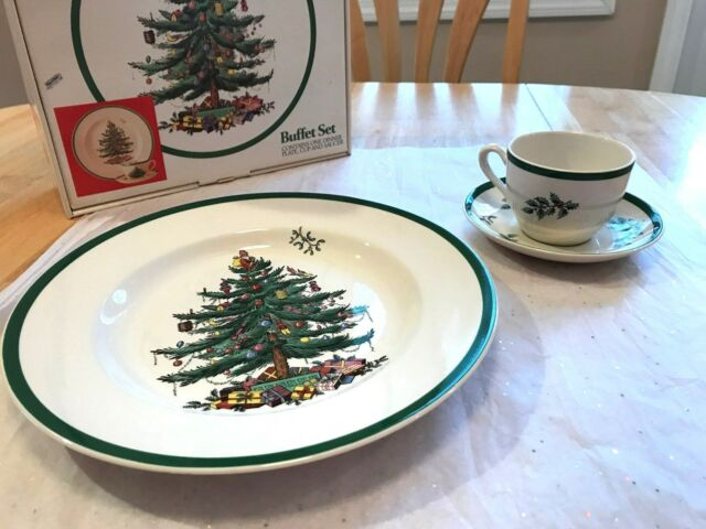 SPODE CHRISTMAS TREE BUFFET SET GREEN TRIM MADE IN ENGLAND MIB PLATE CUP SAUCER & 2 Sets Spode Christmas Tree 3 PC Buffet Set Green Trim England ES | eBay