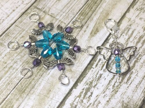 Blue Angels with Clip Holder Snag Free Stitch Markers For Knitting