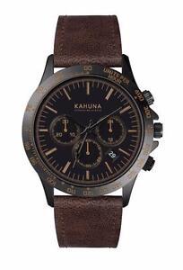 KAHUNA MEN'S BLACK DIAL BROWN STRAP CHRONOGRAPH WATCH WATCH - KCS0016G - RRP:£60