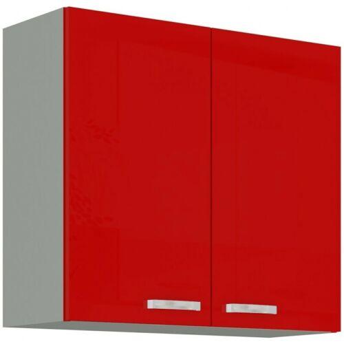 Küchen Hängeschrank 80 cm Rose Hochglanz Rot Grau Küchenzeile Küchenblock Küche
