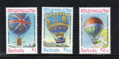 Barbuda #578-580 1953 First Manned Balloon Flight Mint Vf Nh O.g Caribbean Stamps