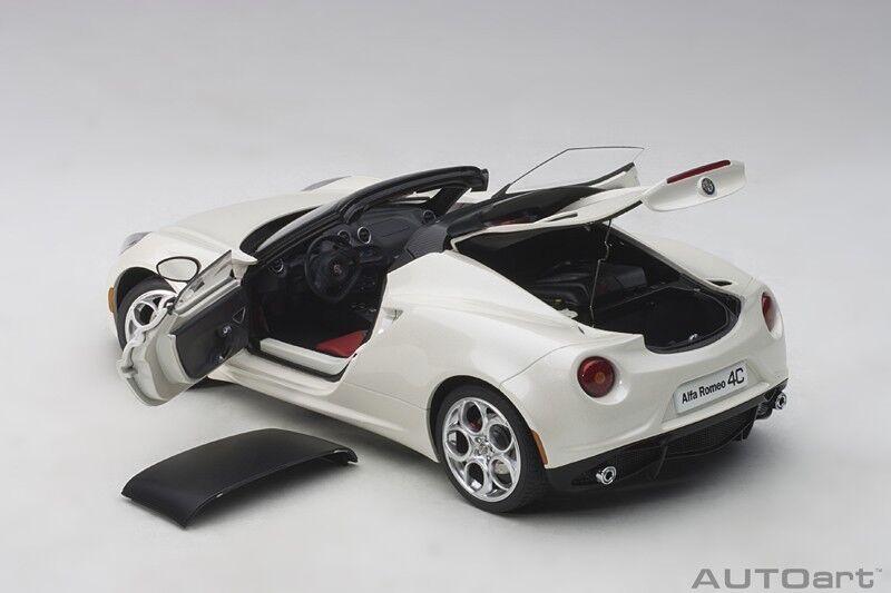 Autokonst ALFA ROMEO 4C SPIDER BIANCO TROFEO VITE 1 18 Scale ny På lagret