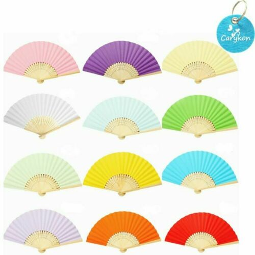Carykon 12 Pack Hand Held Fans Paper Bamboo Folding Fans for Church Wedding Gift