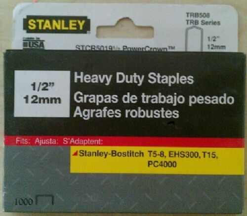 "Stanley 1//2/"" TRB508 Heavy Duty Staples 1000 Count Box"