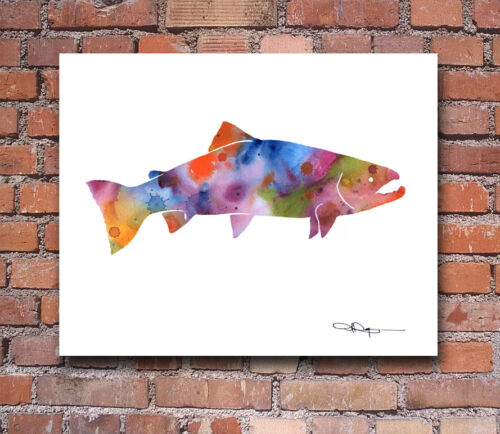 """Rainbow Trout Abstract Watercolor 11/"""" x 14/"""" Art Print by Artist DJ Rogers"""