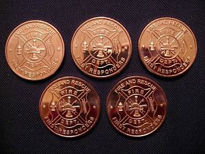 Fire and Rescue Copper Round Coin(5 Coins)