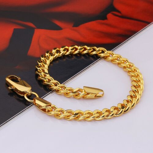 10K Yellow Gold Plated Cuban Link Curb Chain Bracelet Lobster Clasp