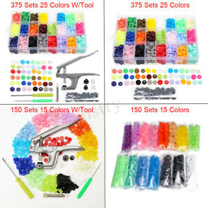 375-150-Sets-DIY-Craft-T5-Snap-Buttons-Starter-Plastic-Poppers-Fasteners-Pliers