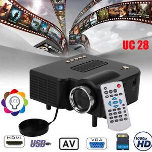 Mini 1080P Full HD LED wideoprojektor domwego kino multimedialny USB/HDMI/AV/VGA