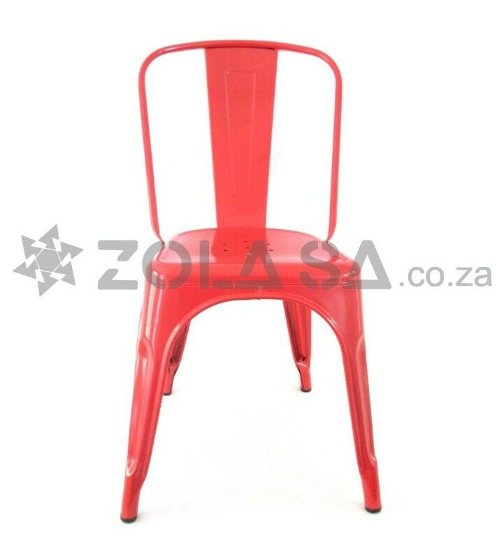 Tolix Metal Cafe Chair - Black/White/Red