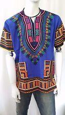 Hippie Boho TRIBAL AFRICAN Dashiki Cotone T Shirt Blu Kaftan Poncho messicano
