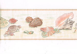 Details About Sea Shell Seashell Pearl Sheen Wallpaper Border Imperial Dp5123b