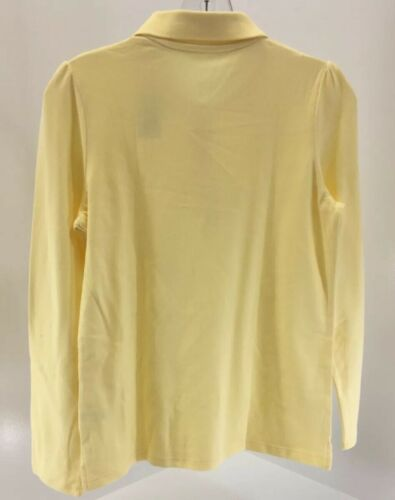 New+ The Childrens Place Girls Youth Long Sleeve Button Up Polo Pale Sun XXL 16