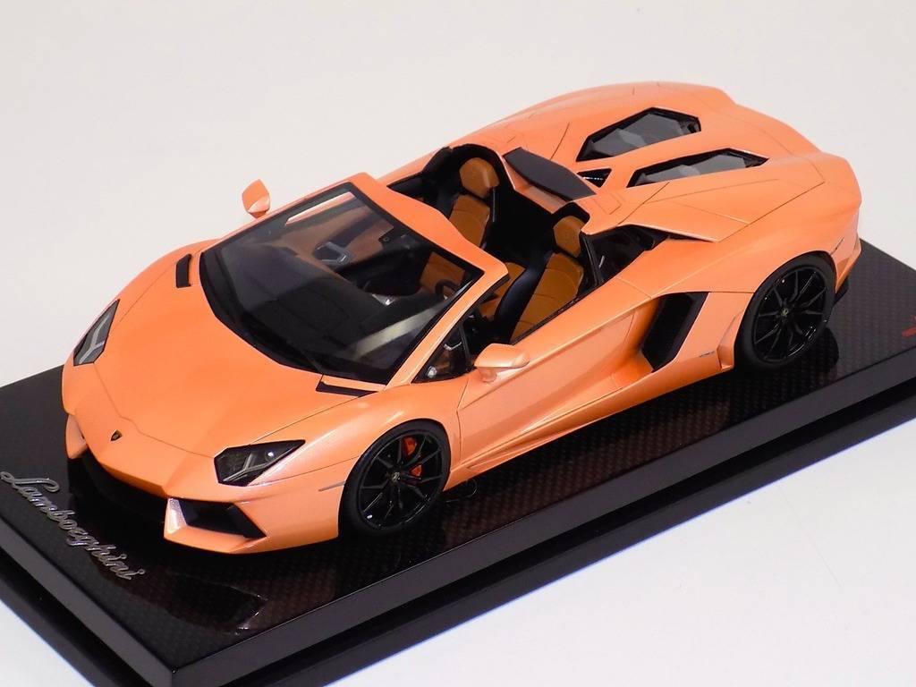 en venta en línea 1 18 Lamborghini Aventador Aventador Aventador LP700 Araña El Señor Colección Melocotón Negro ruedas de Cochebono  buen precio