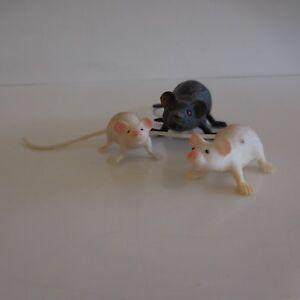 3 Figuras Ratas Ratón Vintage Colección