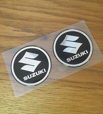 62mm Suzuki logo 3D Black Raised Fuel Tank Sticker Emblem Decal Set of two