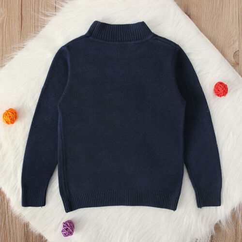 Toddler Kids Baby Girls Boy Solid Sweater Warm Knit Crochet Tops Clothes Outfits