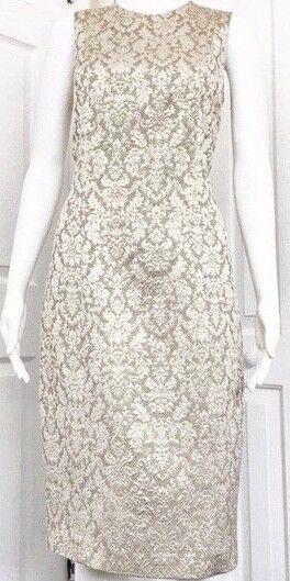 Tracy Reese Golden Gold Brocade Sheath Dress Größe 6 EUC
